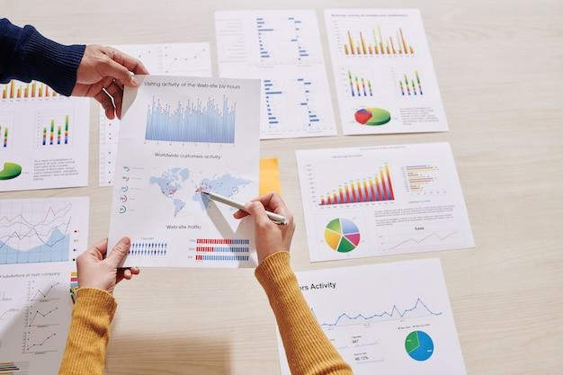 Geschäftsleute, die website-besuchsaktivität analysieren