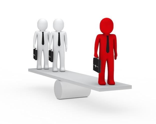 Geschäftsleute für die balance suchen