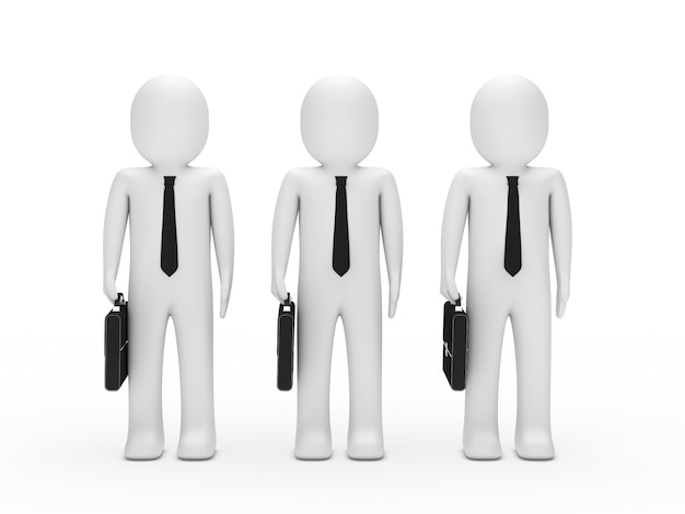 Geschäftsleute mit krawatten und schwarze aktenkoffer