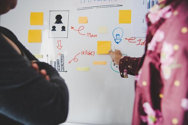 Geschäftsleute präsentieren ihre ideen zu geschäftsplänen an der tafel im konferenzraum