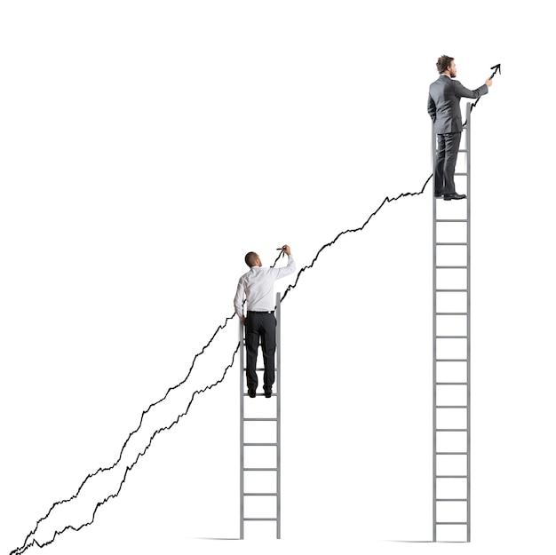 Geschäftsleute schaffen es, die statistiken zu erhöhen