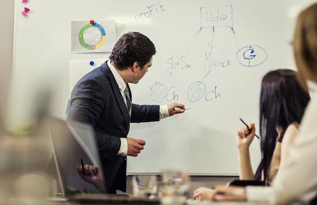 Geschäftsleute treffen konferenz diskussion unternehmenskonzept, geschäftsteam, geschäftspartner diskutieren dokumente und ideen, geschäftskonferenz in einem modernen büro