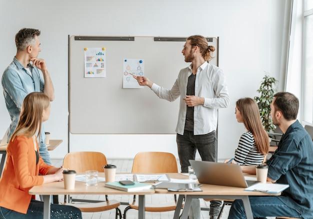 Geschäftsleute treffen sich im büro und arbeiten zusammen
