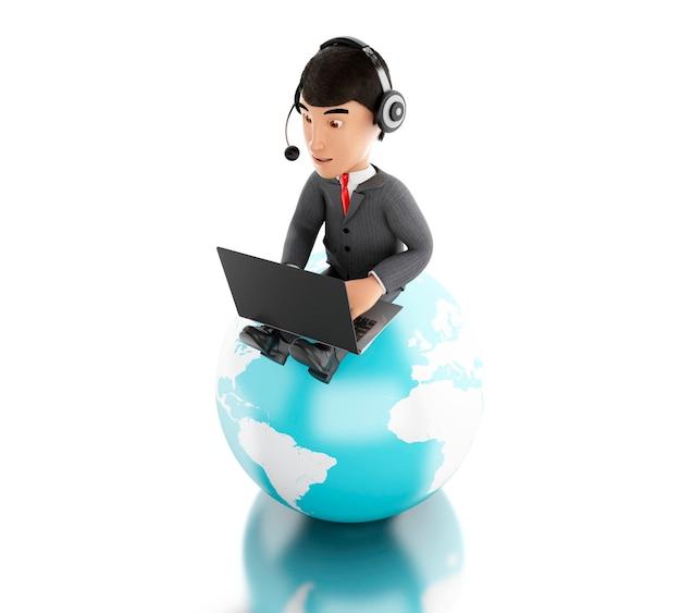Geschäftsmann 3d, der an einem laptop mit kopfhörern auf erdkugel arbeitet.