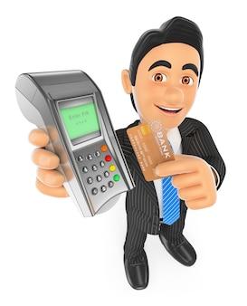 Geschäftsmann 3d, der mit einer kreditkarte in einem bankanschluß zahlt