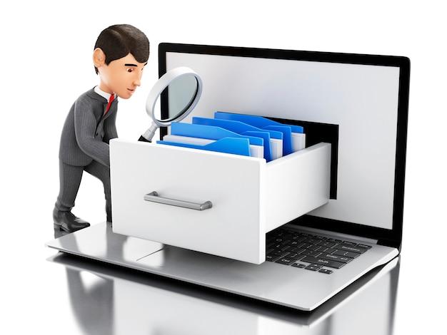 Geschäftsmann 3d, der ordner in einem laptop sucht.