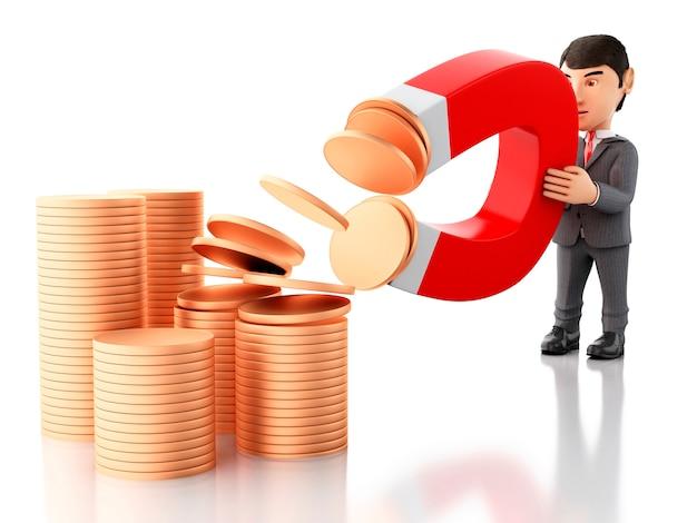 Geschäftsmann 3d mit einem magneten, der geld anzieht.