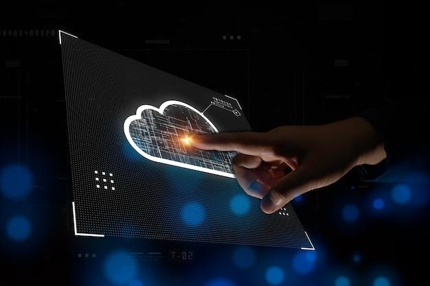 Geschäftsmann berührt cloud-computing-konzept