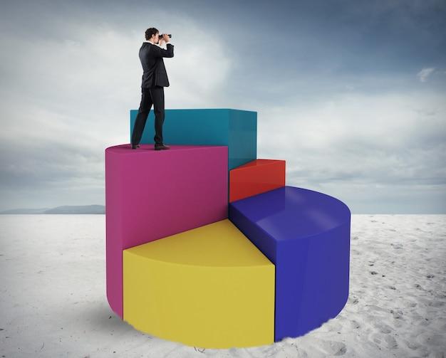 Geschäftsmann betrachtet die wirtschaftliche zukunft mit einem fernglas über einer grafik