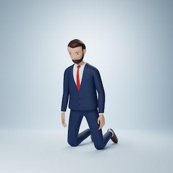 Geschäftsmann cartoon-figur kniend pose isoliert