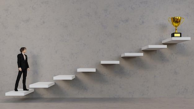 Geschäftsmann der 3d-illustration, der die treppe zum trophäenbecher hinaufgeht. erfolgskonzept.