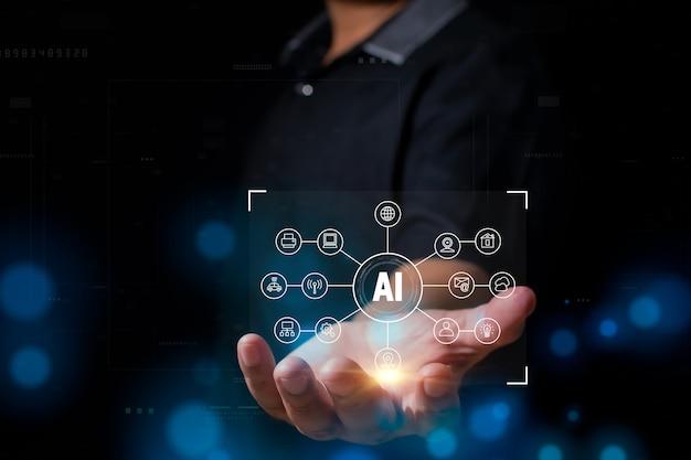 Geschäftsmann, der ai-konzept der künstlichen intelligenz zeigt