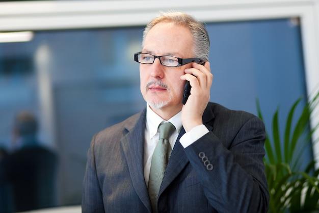 Geschäftsmann, der am telefon in seinem büro spricht