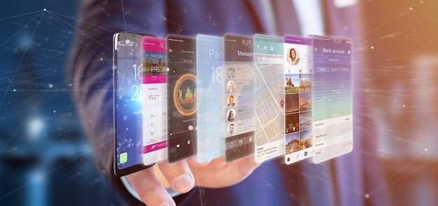 Geschäftsmann, der app-schablone der wiedergabe 3d auf einem smartphone hält