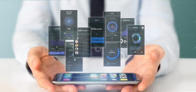 Geschäftsmann, der benutzerschnittstellenschirme mit ikone, statistiken und wiedergabe der daten 3d hält