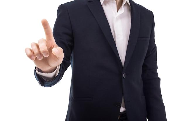 Geschäftsmann, der bildschirm berührt