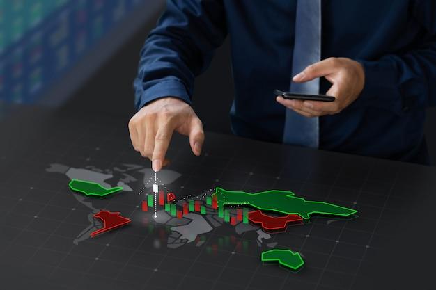 Geschäftsmann, der börse auf digitalem weltkarteschirm handelt