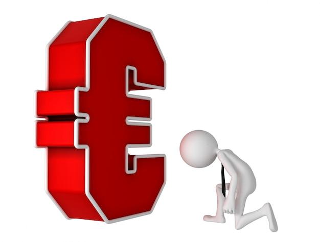 Geschäftsmann, der das knie vor euro-währungssymbol biegt