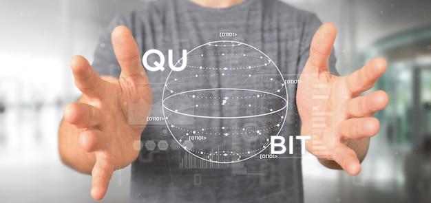 Geschäftsmann, der datenverarbeitungskonzept der quantum mit wiedergabe der qubit-ikone 3d hält