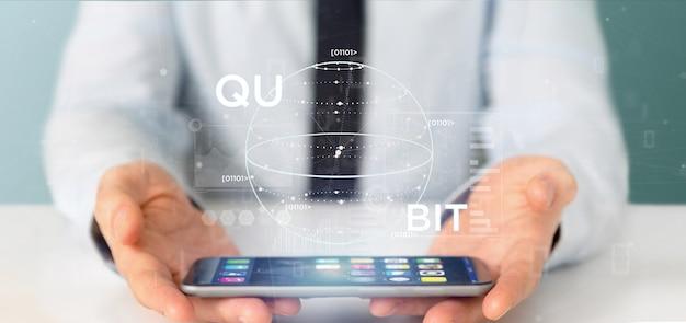 Geschäftsmann, der datenverarbeitungskonzept des quantums mit qubit-ikone hält