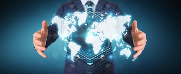 Geschäftsmann, der digitale weltkartenschnittstelle verwendet