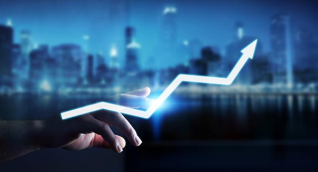 Geschäftsmann, der digitale wiedergabe des pfeiles 3d berührt