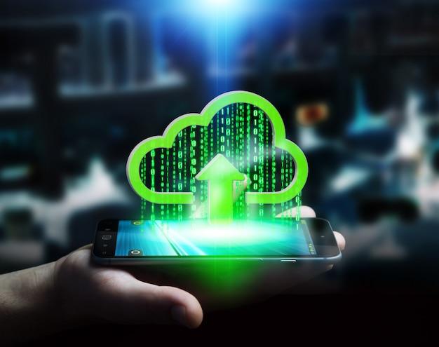 Geschäftsmann, der digitale wolke über seinem telefon hält