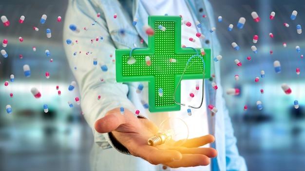 Geschäftsmann, der ein beleuchtungsapothekenkreuz und ein stethoskop hält - 3d übertragen