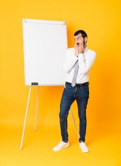 Geschäftsmann, der eine darstellung auf dem weißen brett nervös und erschrocken gibt, hände zum mund setzend