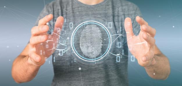 Geschäftsmann, der eine digital-fingerabdruckidentifikation und einen binären code hält