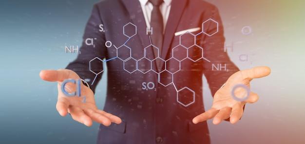 Geschäftsmann, der eine molekülstruktur der wiedergabe 3d hält
