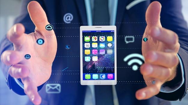 Geschäftsmann, der eine tablette umgibt durch app und sozialikone hält - 3d übertragen