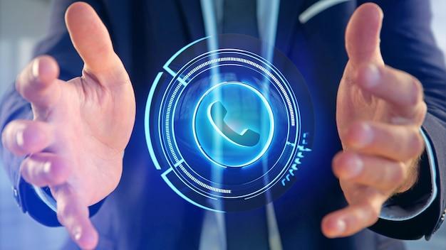 Geschäftsmann, der eine technologische telefontaste shinny anhält - 3d übertragen