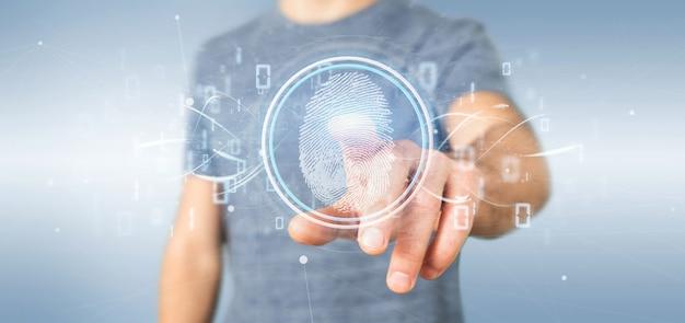 Geschäftsmann, der eine wiedergabe der digital-fingerabdruckidentifikation und des binärcodes 3d hält