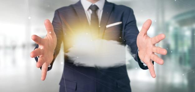 Geschäftsmann, der eine wiedergabe der wettervorhersage sun und der wolke 3d hält