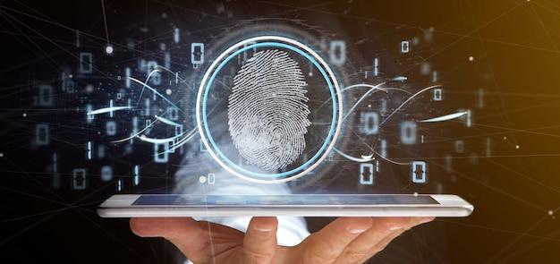 Geschäftsmann, der eine wiedergabe digital-fingerabdruck identificationnd binär code 3d hält