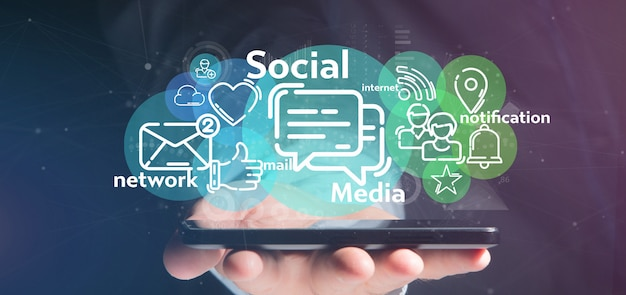 Geschäftsmann, der eine wolke der social media-netzikone hält