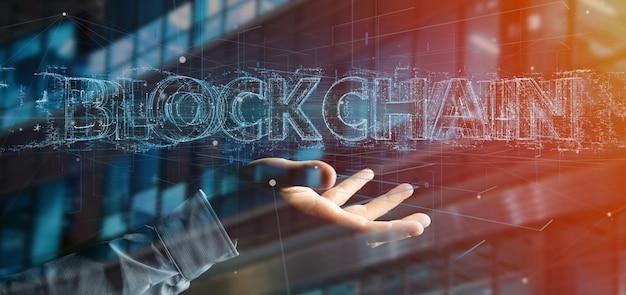 Geschäftsmann, der einen blockchain titel getrennt auf a anhält