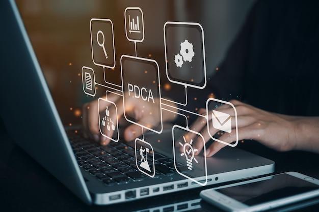 Geschäftsmann, der einen computer zum pdca-banner-websymbol für unternehmen und organisation verwendet, planen, tun, prüfen und handeln.