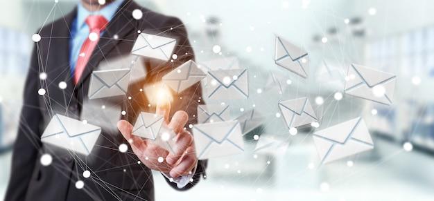 Geschäftsmann, der fliegen-e-mail-ikone der wiedergabe 3d mit seinem finger berührt