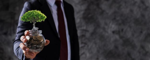 Geschäftsmann, der glasmünzen mit kleinem baum hält, der aufwächst