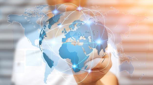Geschäftsmann, der globales netzwerk auf wiedergabe der planetenerde 3d hält
