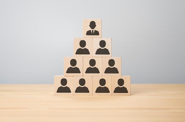 Geschäftsmann, der holzwürfel mit menschensymbolen in pyramidenform stapelt. pyramidenbaum der unternehmenshierarchie. personalführung, delegation von verantwortlichkeiten, leiterin regulierungsfunktionen