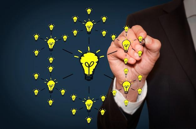 Geschäftsmann, der ideenschema mit vielen kontakten zwischen glühbirnen, geschäfts- und kreativem konzept zeichnet
