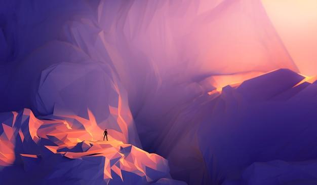 Geschäftsmann der illustration 3d, der auf klippenrand steht und entgegengesetzte seite betrachtet.