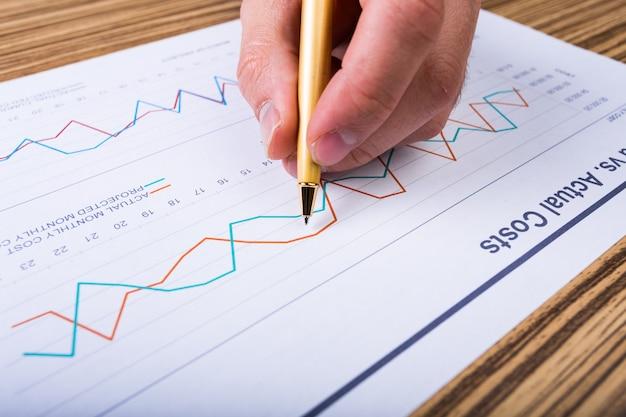 Geschäftsmann, der investitionsdiagramme analysiert