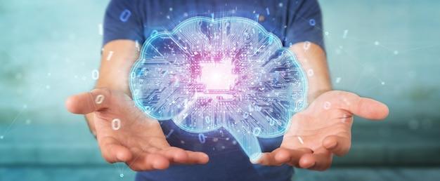 Geschäftsmann, der künstliche intelligenz in einem digitalen gehirn schafft