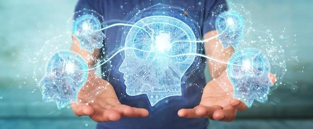 Geschäftsmann, der künstliche intelligenz schafft