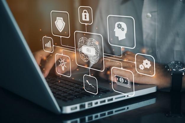 Geschäftsmann, der laptop-computer auf technologiehintergrund verwendet. das big-data-management verwendet das konzept der künstlichen intelligenz (ki).