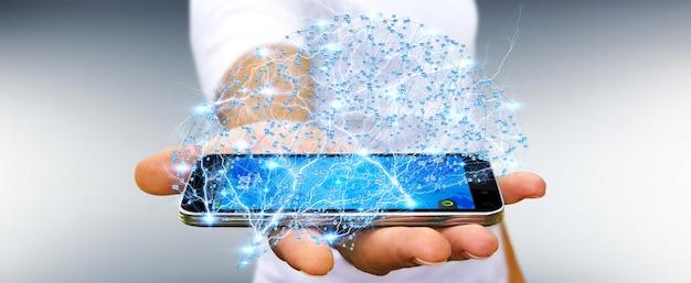 Geschäftsmann, der menschliches gehirn des digitalen röntgenstrahls in seiner wiedergabe der hand 3d hält